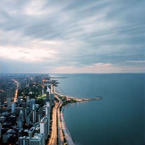 """Photo by Lindsay Blair Brown for an inmate who requested """"to see the downtown Chicago or the lake of Chicago it will bring me happiness to see a real nice picture of the downtown."""""""